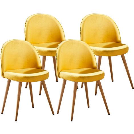Lot de quatre chaises scandinaves GREK Jaune