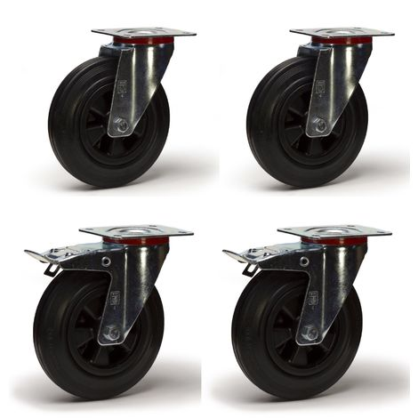 Lot roulettes pivotantes et pivotantes à frein caoutchouc noir 100 mm - 210 Kg