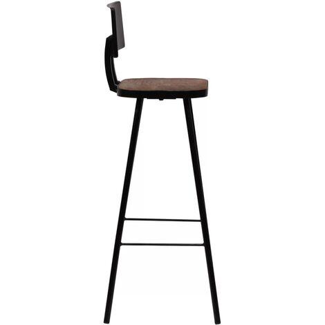 Lot de quatre tabourets de bar design chaise siège bois massif de récupération marron foncé