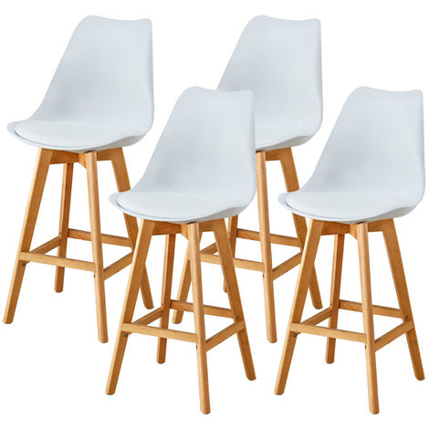 Lot de Quatre tabourets scandinaves LAURY Blanc