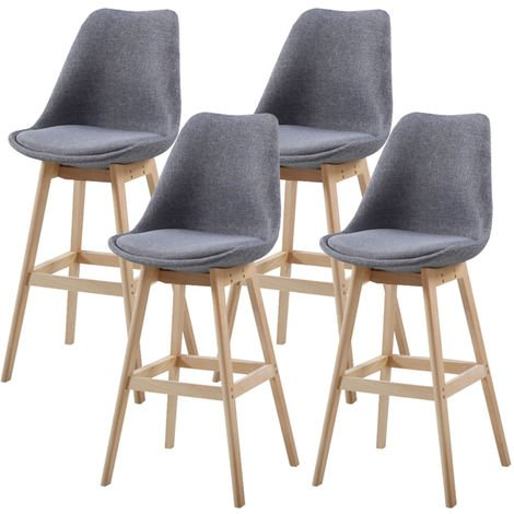 Lot de Quatre tabourets scandinaves MAESTRY GRIS CLAIR