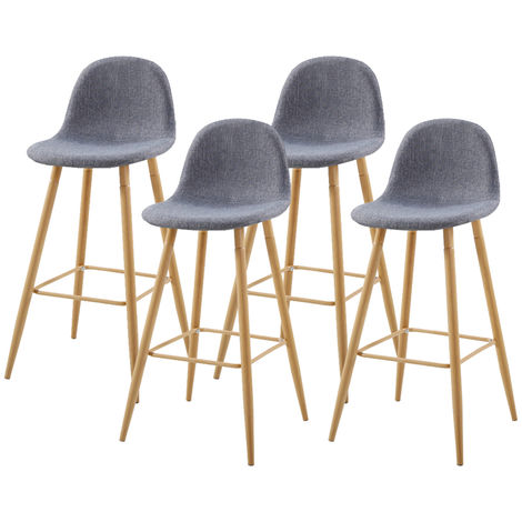 Lot de Quatre tabourets scandinaves Oslen Gris Clair