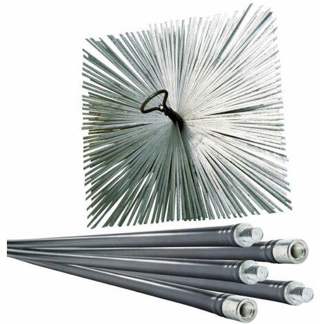 Lot de ramoneur 7m + 1 hérisson acier 250mm