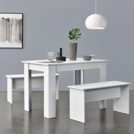 Lot de Table et 2 Bancs Design Ensemble de Meubles de Salle à Manger Stylé pour 4 Personnes Panneau de Particules Mélaminé 110 x 70 x 73 cm Blanc