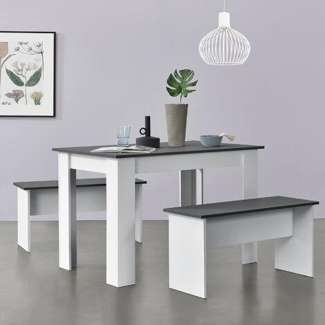 Lot de Table et 2 Bancs Design Ensemble de Meubles de Salle à Manger Stylé pour 4 Personnes Panneau de Particules Mélaminé 110 x 70 x 73 cm Blanc Gris