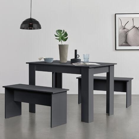Lot de Table et 2 Bancs Design Ensemble de Meubles de Salle à Manger Stylé pour 4 Personnes Panneau de Particules Mélaminé 110 x 70 x 73 cm Gris