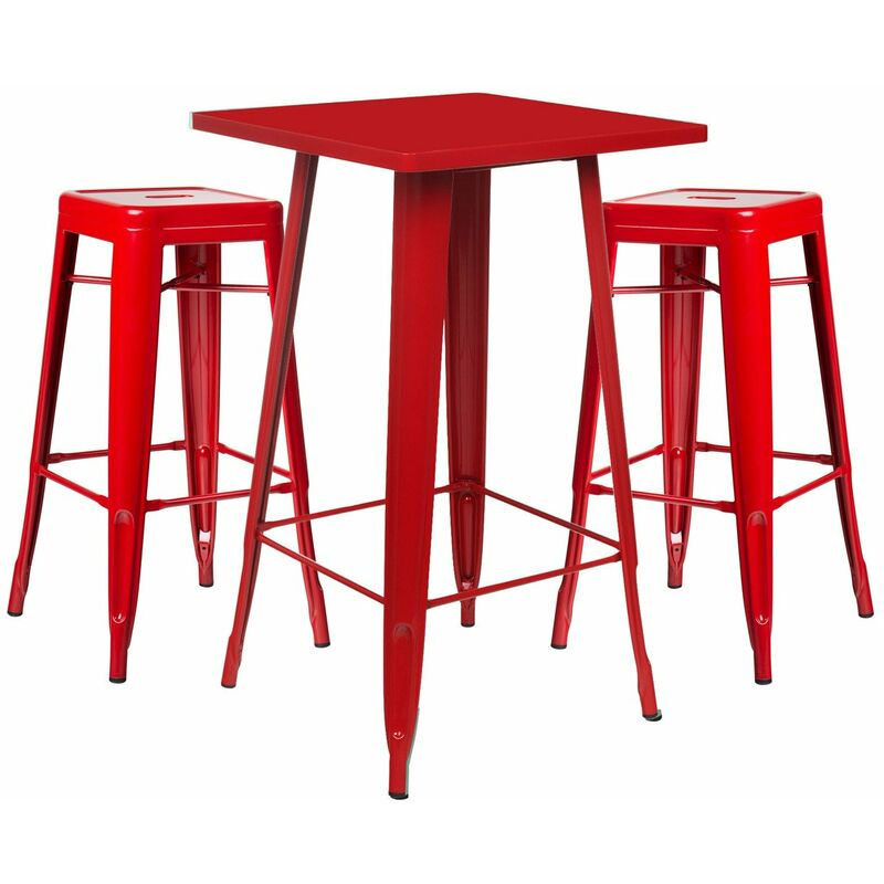 Set Table Haute LIX & 2 Tabourets Hauts LIX Rouge - Rojo - Sklum