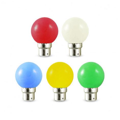 Lot de x10 ampoules LED B22 baionnette RGB de couleur style guiguette pour guirlande de couleur