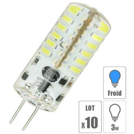 Lot de x10 ampoules led G4 3W blanc froid