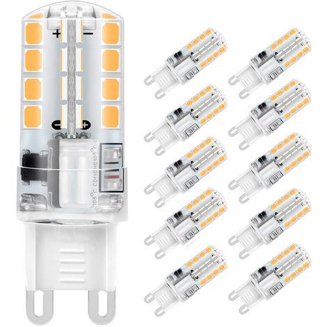 Lot de x10 ampoules led G9 3W blanc froid Économie d'énergie Equivalente 40W Halogène
