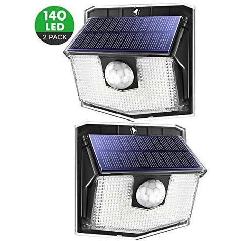 Lot de x2 spot LED solaire à detecter de mouvement 300 lumens jusqu'à 8 mètres de détection