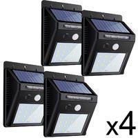 Lot de x4 spot led solaire avec detecteur de mouvement mural