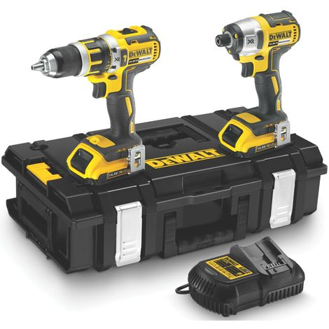 Lot DEWALT 2 outils 14.4 V Perceuse percussion + Visseuse à chocs + 2 batteries - DCK245D2