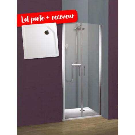 Lot d'une porte de douche battante + receveur extra-plat, paroi de douche en niche, verre transparent anti-calcaire, profilés aspect chromé, Schulte