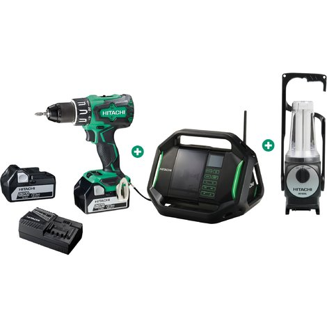 Lot HITACHI - HIKOKI Perceuse à percussion + Radio de chantier + Lampe tempête + 2 batteries 18V 5.0Ah, chargeur, coffret