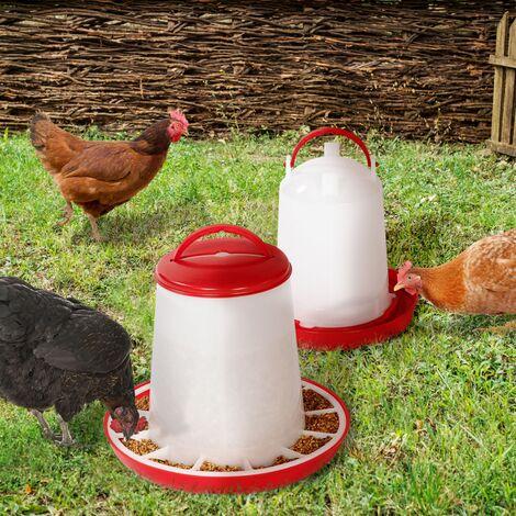 Lot mangeoire 7,5 kg et abreuvoir 10L pour poules et volailles