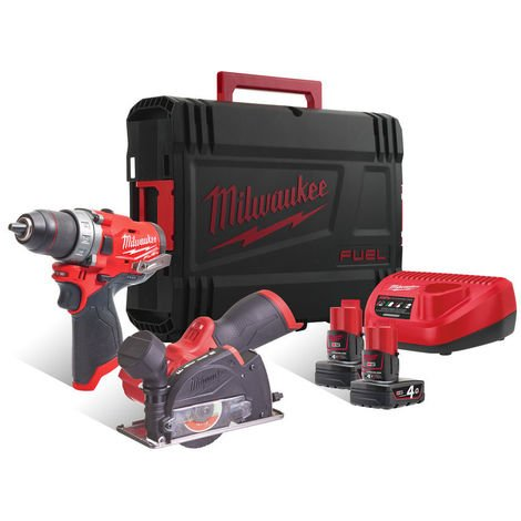 Lot meuleuse angulaire M12 Fuel + Perceuse percussion compacte M12 Fuel - MILWAUKEE - M12 FPP2F-402X