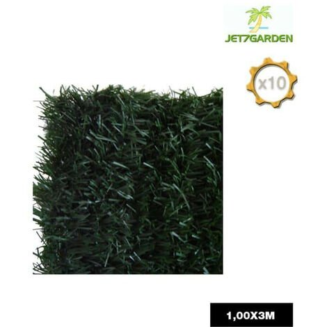 Lot of 10 rolls JET7GARDEN artificial hedge 1x3m - fir green - 126 ULTRA strands
