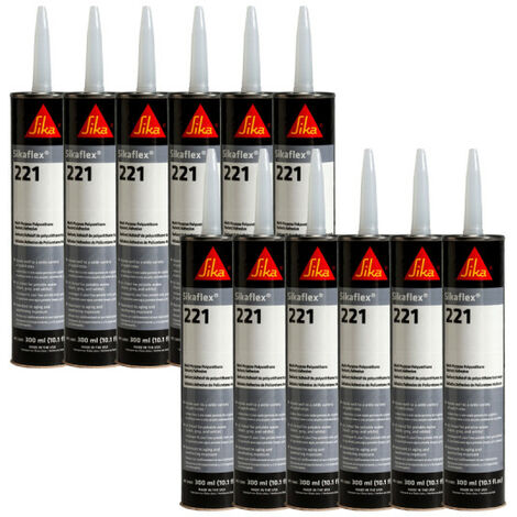 Lot of 12 SIKA Sikaflex 221 multi-purpose mastic glue - Cherry - 300ml