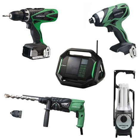 Lot Perceuse + 4 outils -2 batteries 18V 3Ah Hitachi/Hikoki