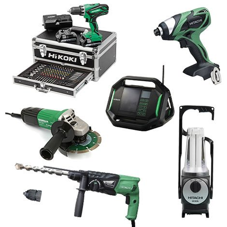 Lot Perceuse + 5 outils -2 batteries 18V 2,5Ah Hitachi/Hikoki