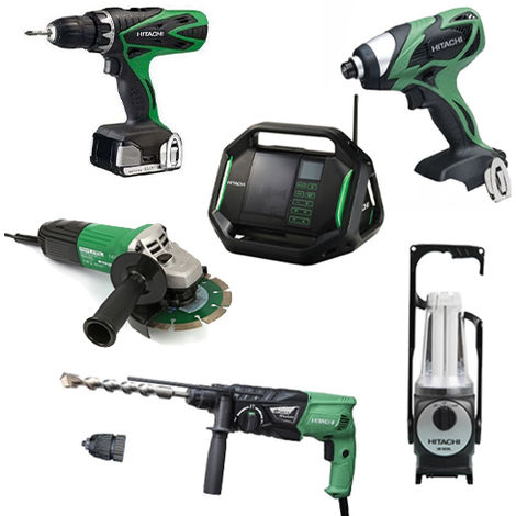 Lot Perceuse + 5 outils -2 batteries 18V 3Ah Hitachi/Hikoki