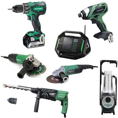 Lot Perceuse + 6 outils -2 batteries 18V 5Ah Hitachi/Hikoki