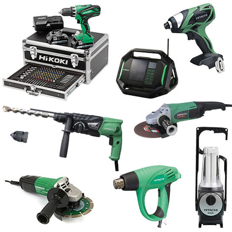 Lot Perceuse + 7 outils -2 batteries 18V 2,5Ah Hitachi/Hikoki