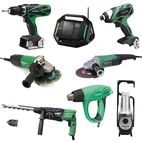 Lot Perceuse + 7 outils -2 batteries 18V 3Ah Hitachi/Hikoki