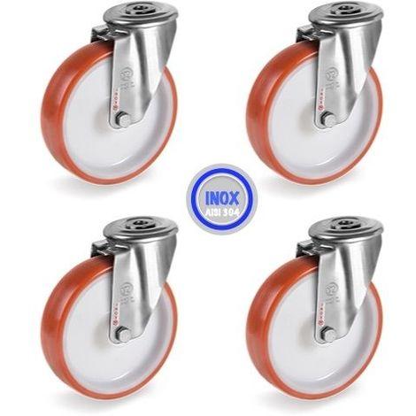 Lot roulettes à Oeil INOX pivotantes polyuréthane rouge 80 mm - 360Kg
