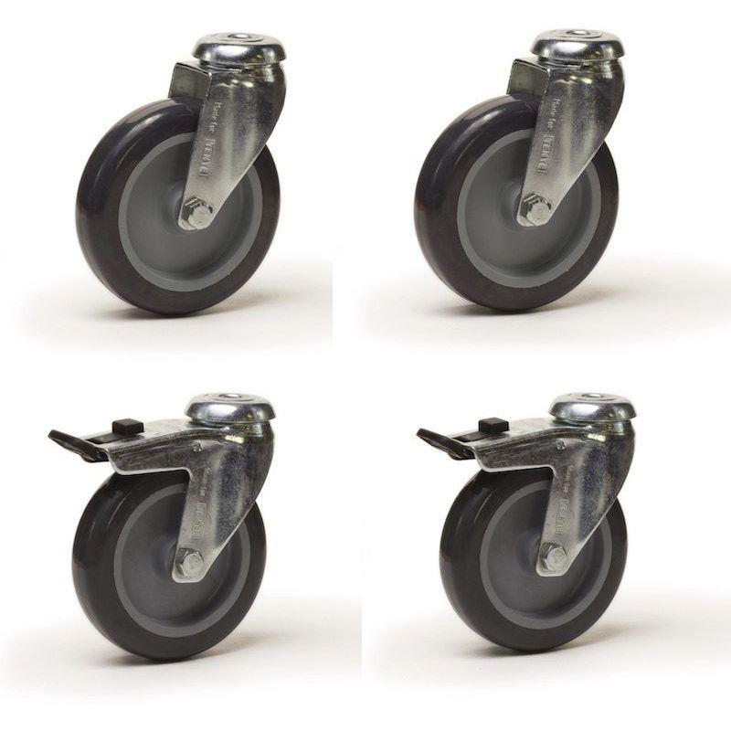 Roulette pivotante Ø75  fixation trou central de 10 caoutchouc gris
