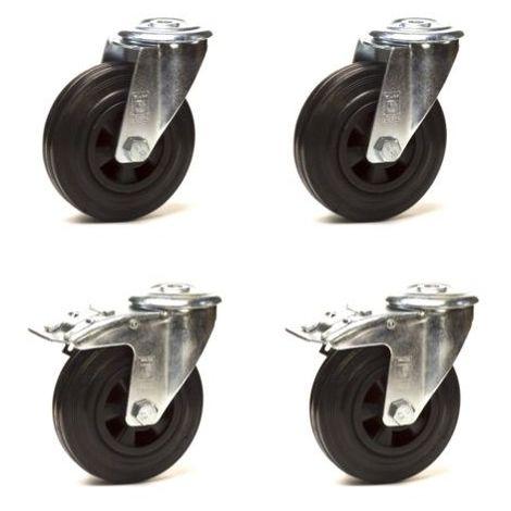 Lot roulettes à oeil pivotantes et pivotantes à frein caoutchouc noir 125 mm - 300 Kg