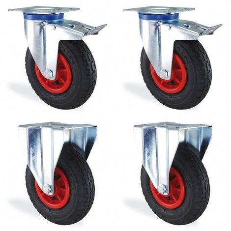 Lot roulettes fixe et pivotante à frein gonflable diamètre 260mm charge 600kg