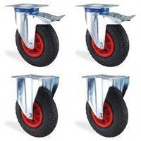 Lot roulettes pivotante à frein et fixe gonflable diamètre 200mm charge 300kg