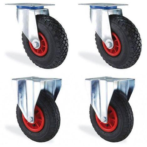 Lot roulettes pivotante et fixe gonflable diamètre 200mm charge 300kg
