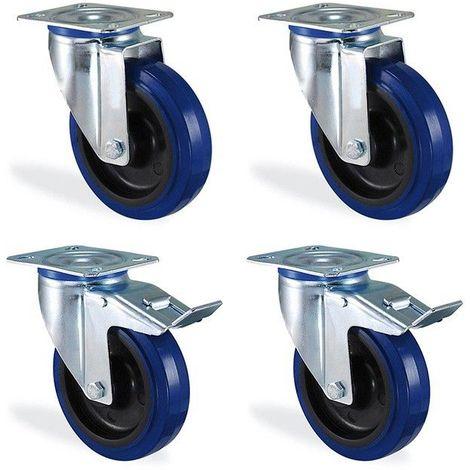 Lot roulettes pivotante et pivotante à frein caoutchouc bleu élastique diamètre 100mm charge 450kg