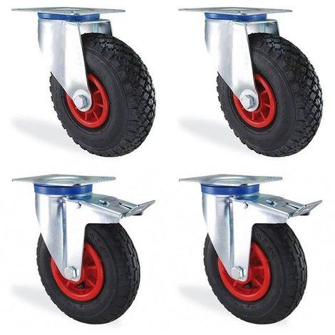 Lot roulettes pivotante et pivotante à frein gonflable diamètre 200mm charge 300kg