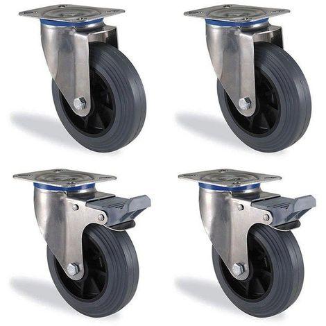 Lot roulettes fixe et pivotante à frein caoutchouc gris souple diamètre 80mm ...