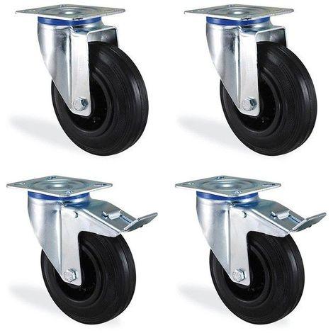 Lot roulettes pivotante et pivotantes à frein caoutchouc noir diamètre 80mm 150kg