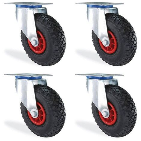Lot roulettes pivotante gonflable diamètre 200mm charge 300kg