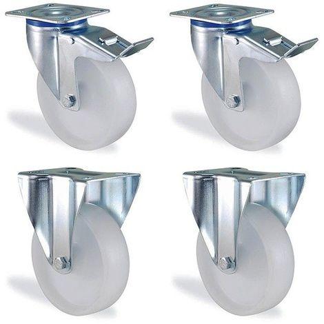 Lot roulettes pivotantes à frein et fixe polypropylène blanc diamètre 125mm charge 450kg