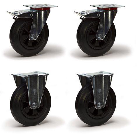 Lot roulettes pivotantes à frein et fixes caoutchouc noir 100 mm - 210 Kg