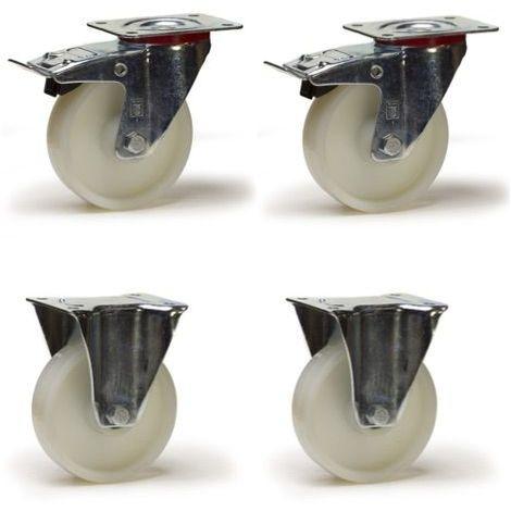 Lot roulettes pivotantes à frein et fixes polyamide blanc 100 mm - 600 Kg