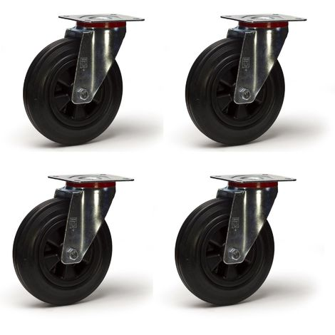 Lot roulettes pivotantes caoutchouc noir 125 mm - 300 kg