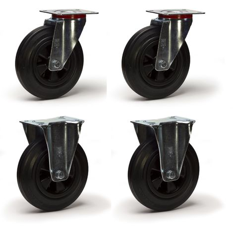 Lot roulettes pivotantes et fixes caoutchouc noir 200 mm - 615 Kg