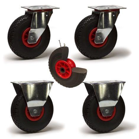 Lot roulettes pivotantes et fixes pneumatique increvable - 225 Kg
