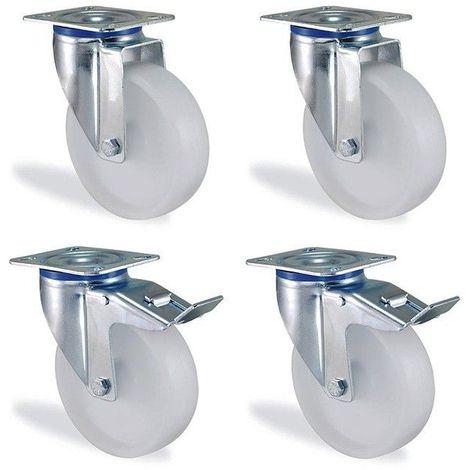 Lot roulettes pivotantes et pivotante à frein polypropylène blanc diamètre 100mm charge 450kg