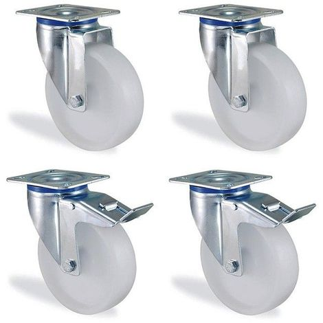 Lot roulettes pivotantes et pivotante à frein polypropylène blanc diamètre 80mm charge 300kg