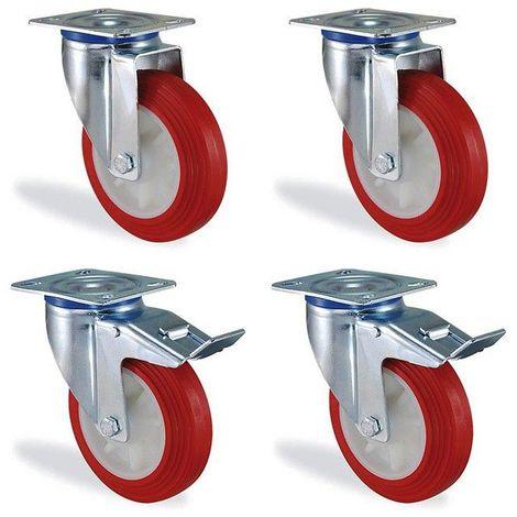 Lot roulettes pivotantes et pivotante à frein polyuréthane rouge diamètre 125mm charge 540kg