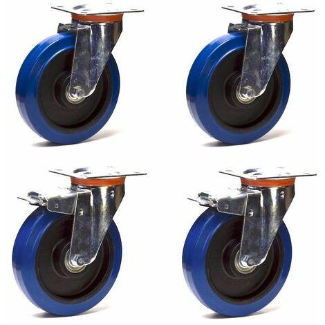 Lot roulettes pivotantes et pivotantes à frein caoutchouc EASYROLL® BLEU 125 mm charge - 600 Kg